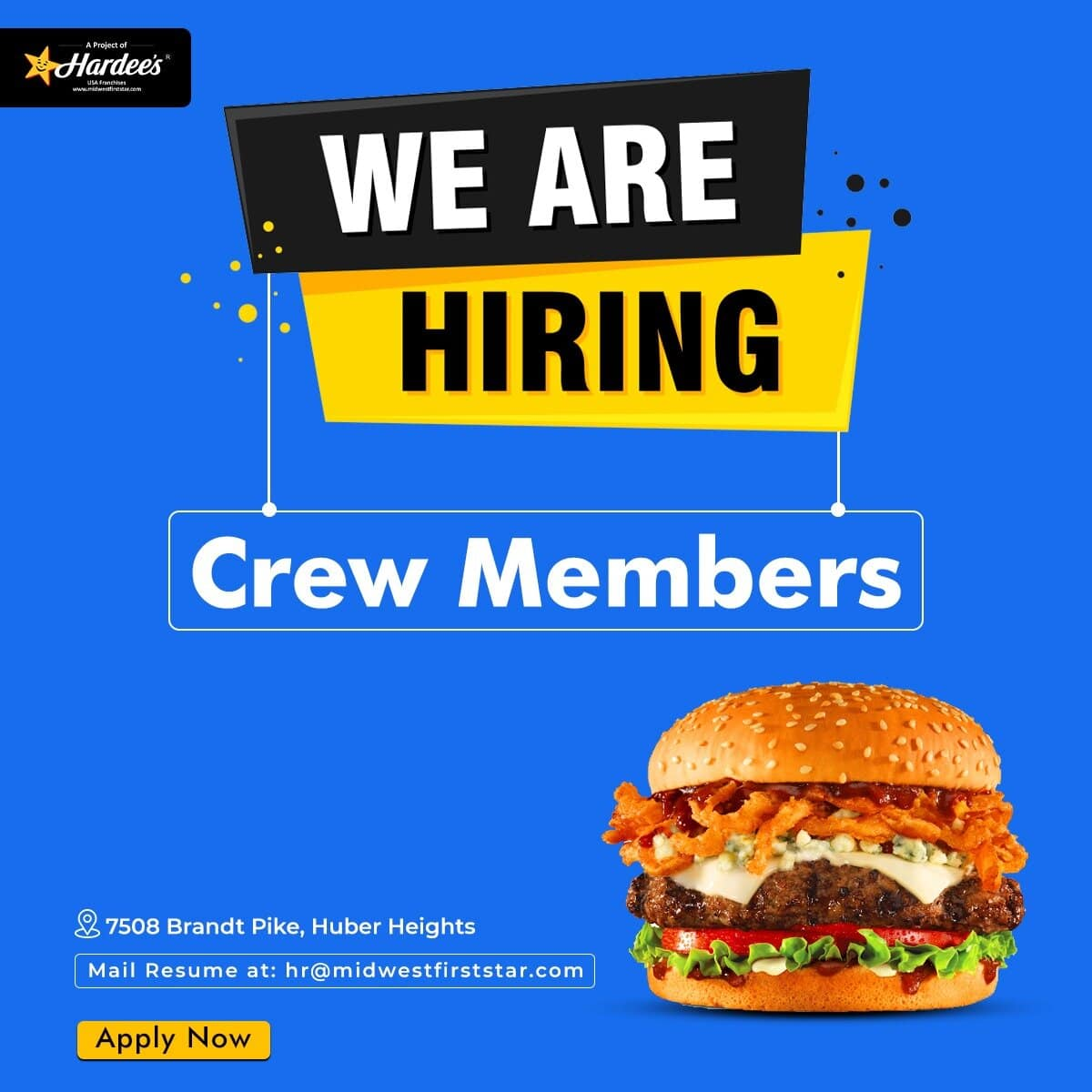 Looking for Crew Members including Cashiers, Cooks for Hardee's restaurant in Huber Heights, OHIO