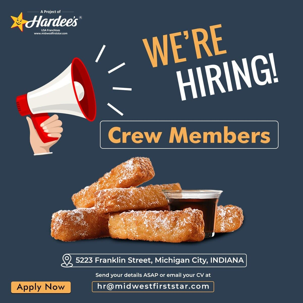 Looking for Crew Members for our restaurant in MICHIGAN CITY, INDIANA