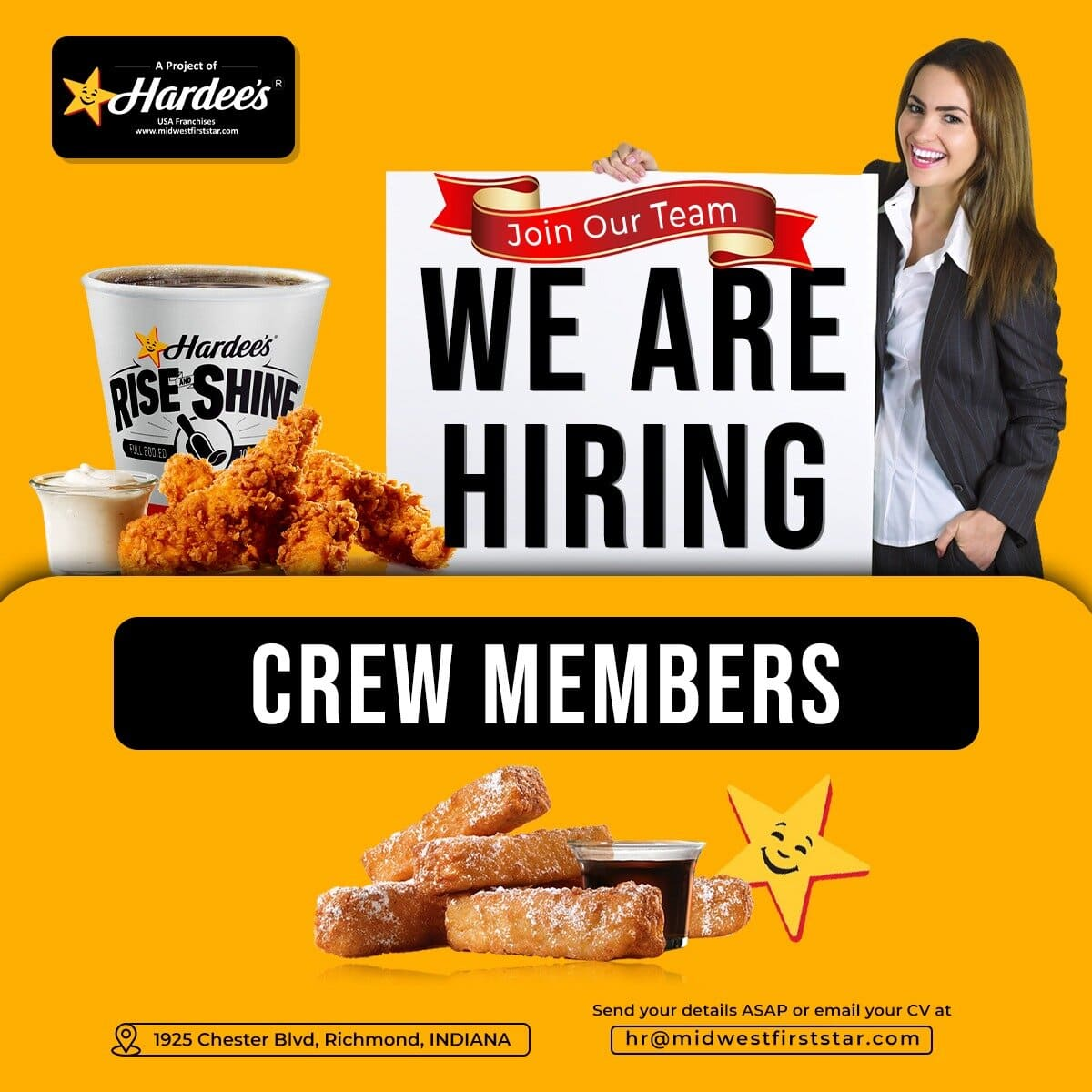 Looking for Crew Members for Hardee's restaurant in Richmond, INDIANA